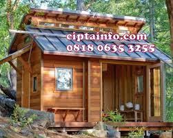 Desain rumah kayu di kwandang
